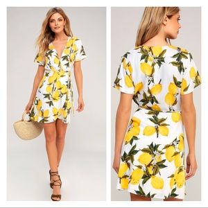 LuLu's A La Tart White & Yellow Lemon Print Dress